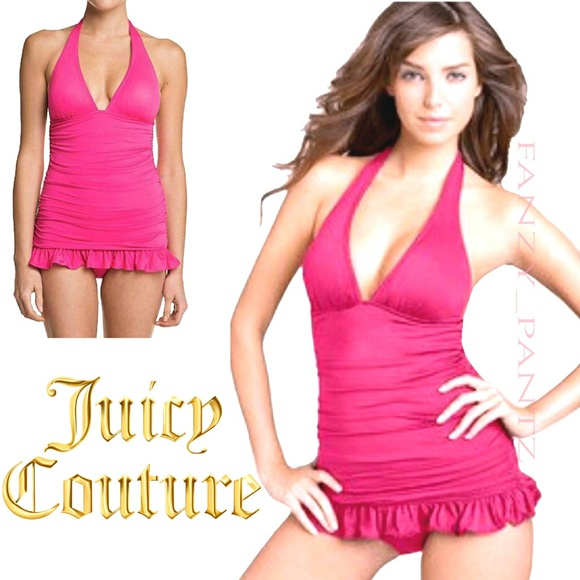 5ca79142772 Juicy Couture Other - Juicy Couture swim dress shirred halter pink large